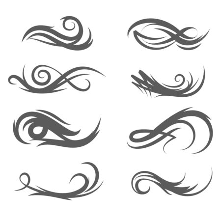 decoration style: Vector tattoo style flourishes swirls. Illustration of fashion decoration set Illustration