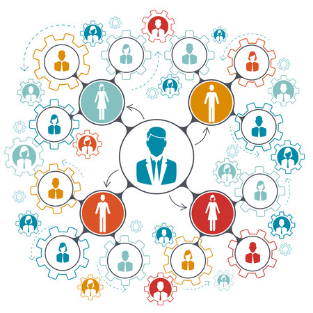 Business people team work. Managment structure hierarchy of teamwork in company. Vector illustration Illustration