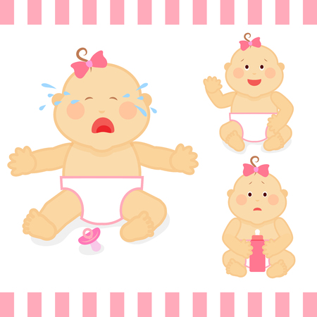 small girl: Cute cartoon small pink baby girl vector illustration. Baby toddler crying, sadness baby with bottle of milk Illustration