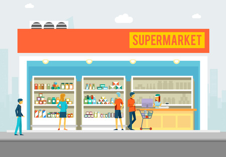 People in supermarket. Interior shop for marketing banners. Big store with products. Vector illustration Illustration