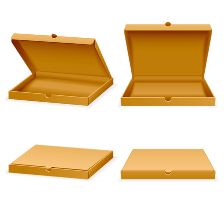 Vector isometric pizza cardboard box. Opened and closed realistic empty packaging for transportation fast food illustration