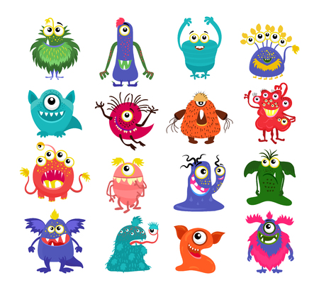 Vector monsters. Set of cartoon cute character isolated on white background