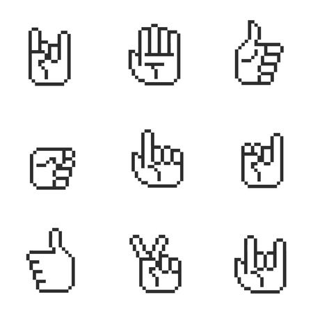 horn like: Gestures hands. Pixel art 8 bit, arm with thumb up. Vector illustration