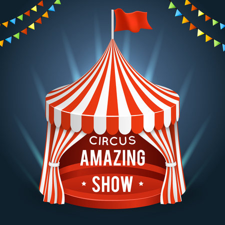 amazing: Funfair circus. Vector poster with tent, banner for amazing show illustration