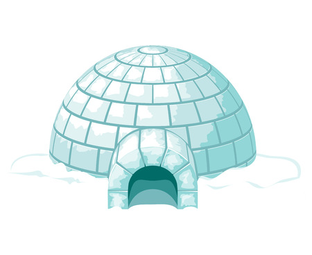 Icy cold home or house, winter built from ice blocks. Vector igloo illustration Illustration
