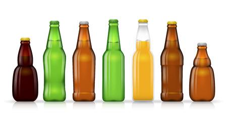 Different shapes of beer bottles for beer or or other beverage. Vector illustration