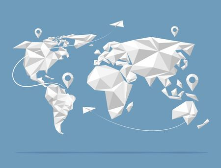 low poly: Low poly world map. Earth atlas isolated on background. Vector illustration