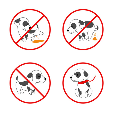 pissing: Dog signs. No dog, no pissing dog, no dog pooping. Set of banned signs for animal. Vector illustration