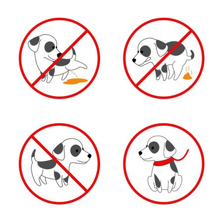 signes de chiens. Aucun chien, pas de chien pisser, pas pooping chien. Ensemble de signes interdits pour animaux. Vector illustration