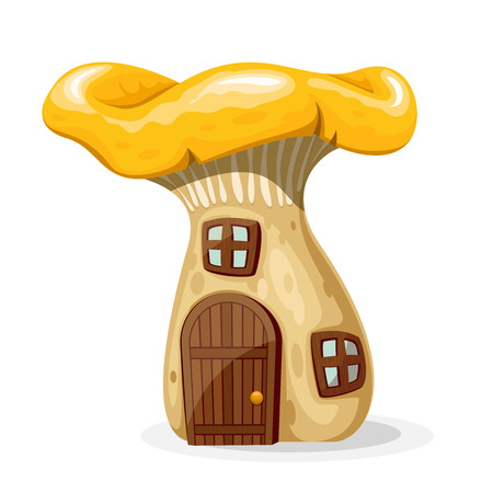 windows home: Mushroom house with door and windows. Fairytale home isolated on white background. Vector illustration Illustration