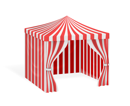 outdoor event: Carnival tent for outdoor party event. Mockup striped marquee for circus. Vector illustration