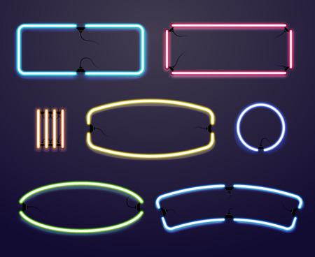 neon sign: Neon light borders. Vector illuminated frames, bright line for advertising illustration