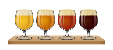 foaming: Beer light on white background vector. Set of different sorts in glass illustration