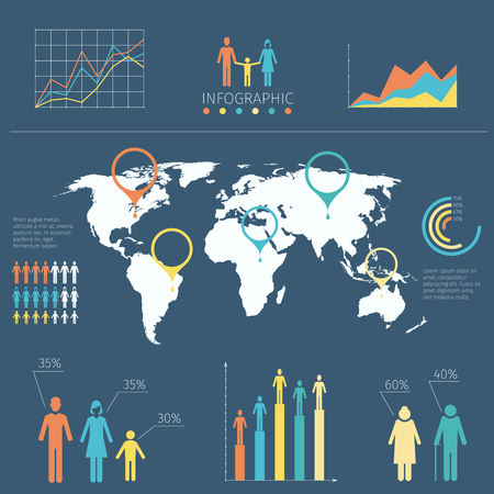 population growth: Vector infographic with people icons and charts. Word map with information infographic, illustration map with infochart