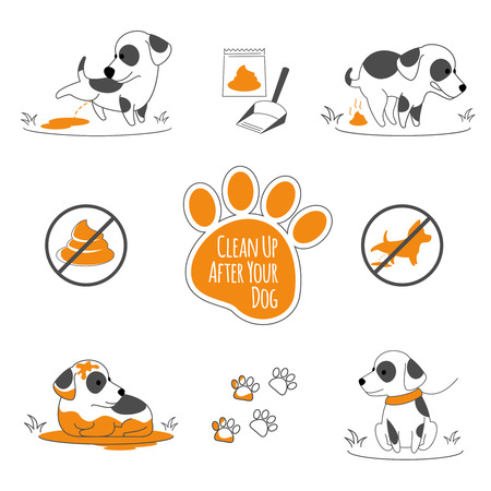 Dog pooping information. Clean up after your pets, vector illustration  イラスト・ベクター素材