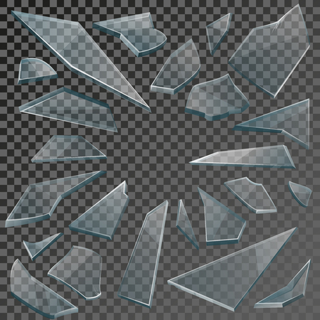Realistic transparent shards of broken glass on checkered backdrop. Vector illustration