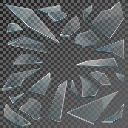 Realistische transparante scherven van gebroken glas op geruite achtergrond. Vector illustratie