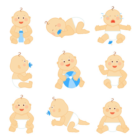 baby face: Cute baby in diaper vector illustration. Baby boy happy with ball, little baby toddler cheerful and funny Illustration