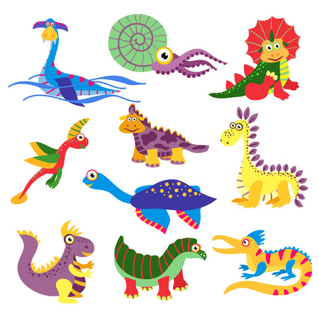 Prehistoric cute dinosaurus vector illustration isolated on white background. Set of charactes dinosaurus in colored, wild animal dinosaur Illustration