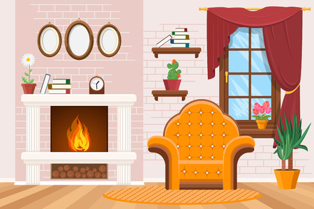 Home lounge interior with photo frames, warm fireplace and armchair. Cozy living room, vector illustration