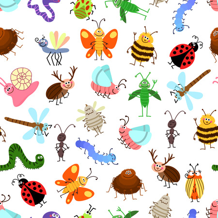 creeping: Fly and creeping cute cartoon insects vector pattern for happy kids. Background with characters insects, illustration of winged insects Illustration