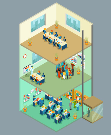 Isometric business center. Vector 3d office building with business people. Multilevel business center for teamwork, presentations and meetings illustration Illustration
