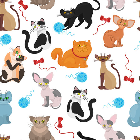 domestic cat: Fur cats pattern vector background. Color cat with tangle of threads. Illustration of domestic playful cat