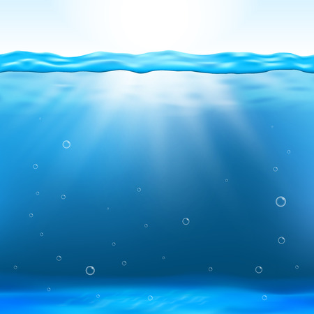 surface level: Underwater view vector illustration. Underwater clean background and deep underwater with sunbeam Illustration