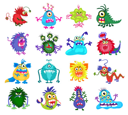 creature: Scary monster vector. Set of colored monsters with teeth and eyes, illustration of funny monsters Illustration