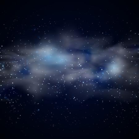 cielo azul: El espacio cósmico cielo de fondo negro con las estrellas azul de la nebulosa en la ilustración vectorial noche. nebulosa transparente en el espacio y neblina nebulosa en galaxia inexplorada