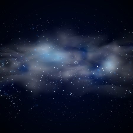 Cosmic space black sky background with blue stars nebula at night vector illustration. Transparent nebula in space and fogginess nebula in unexplored galaxy