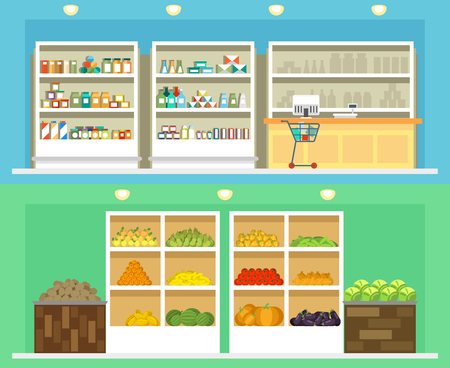 grocery shelves: Shop interior with store shelves with grocery and vegetables, drinks and other shop foods. Shop with food fruit and vegetables. Vector illustration