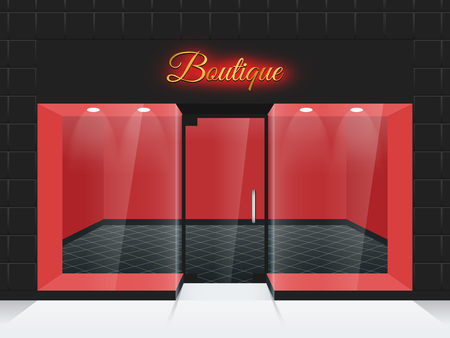 empty frame: Empty shop front or boutique windows and door vector illustration. Fashion boutique with glass facade, front frame boutique Illustration