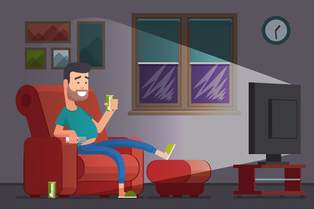 slacker: Man watching TV and drinking beer. Lazy slacker in the chair watch television. Vector illustration Illustration