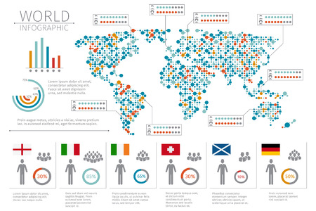 Vector world map cross dot global map for cartography template map world people infographics human infographic on world map vector illustration world statistic and infographic gumiabroncs Image collections