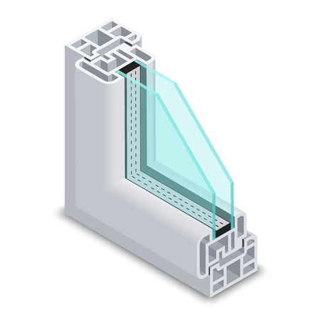 sections: Home clear glass window cross section. Window frame structure vector illustration. Plastic profile frame window