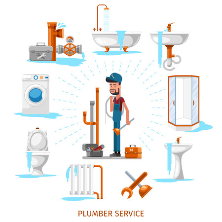 maintenance work: Plumber or maintenance engineer at plumbing work. Service repair, vector illustration Illustration
