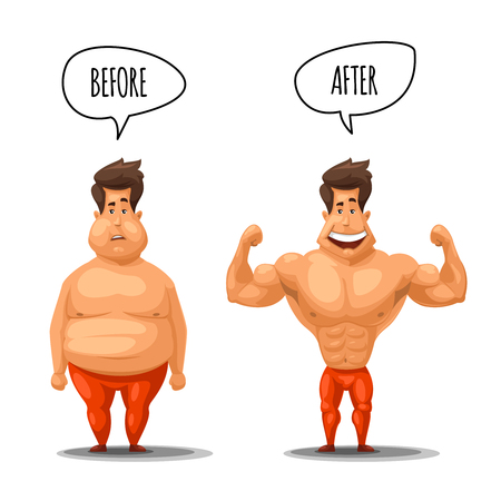 Weight loss. Man before and after diet vector illustration. Man weight loss, muscular guy after lose weight 向量圖像