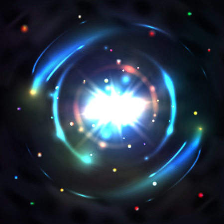 light circular: Blue glow light, vector circle swirl vortex, abstract circular effect illustration