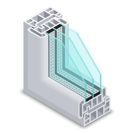 クロス セクション ベクトル図エネルギー効率的なウィンドウです。プラスチック プロフィールの省エネ構造コーナー ウィンドウ  イラスト・ベクター素材
