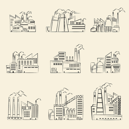 Vector hand drawn industrial factory building. Set of factory manufacture and power factory building illustration Vectores
