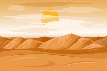 Desert mountains sandstone background. Dry desert under sun, endless sand desert. Vector illustration Illusztráció