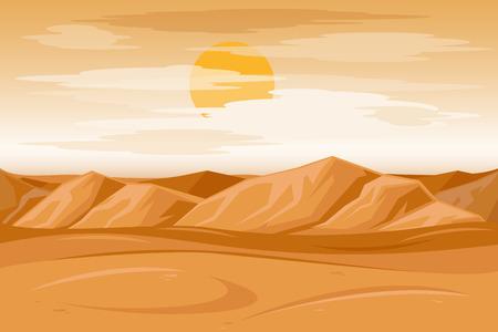 Desert mountains sandstone background. Dry desert under sun, endless sand desert. Vector illustration Stock Illustratie