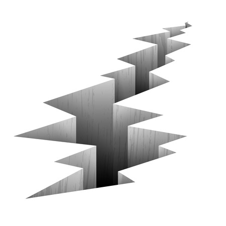 Crack fault line in ground vector illustration. Crack in ground after earthquake, crack on surface Illustration