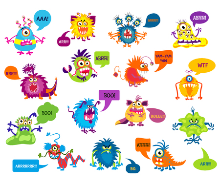 scaring: Cartoon silly monsters with funny inscriptions vector illustration. Monsters growling and screaming, character monster scaring Illustration