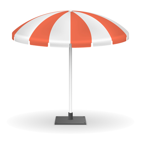 outdoor event: Red striped market umbrella for outdoor event vector illustration. Umbrella protection from sun, tent round umbrella for rest outdoor
