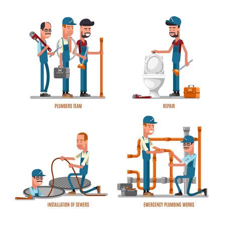 repairs: Plumbing work. Plumbers and plumbing repairs vector illustration. Team of plumbers repair pipe Illustration