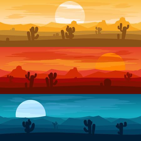 deserts: Desert mountains banners. Desert landscape days and desert at night vector backgrounds illustration