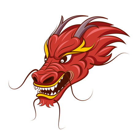 Chinese dragon vector illustration. Tattoo of red dragon, head of traditional dragon Stock Vector - 67386537