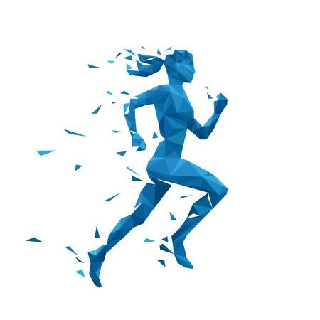 Aktywne uruchomiony kobieta wektora ilustracji. Projektowanie energii jogging kobieta. Silhouette bieżącej kobiety wielobocznych cząstek